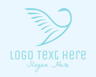 Swan - Flying Bird logo design