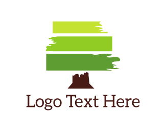 Green And Brown - Green Brushstroke  logo design