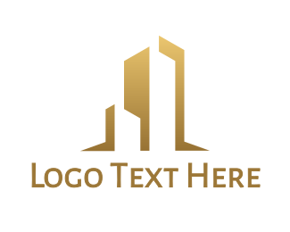 Developer - Gold Abstract Building logo design