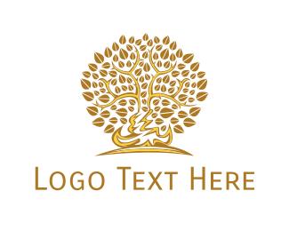 Leafy - Gold Leafy Tree logo design
