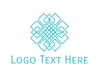 Mandala - Geometric Blue Flower logo design