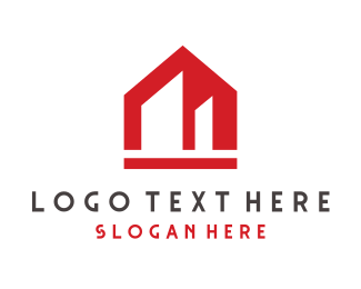 Modern Red Building Logo Maker