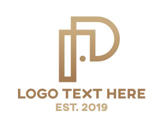 Joinery - Gold Modern P logo design