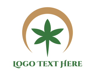 Weed - Brown Circle Cannabis  logo design