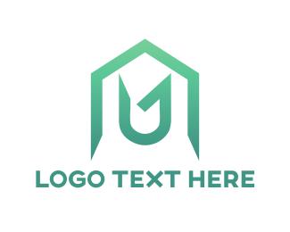 Letter U - House Letter U logo design