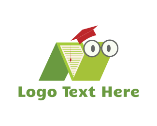 School - Book Worm logo design