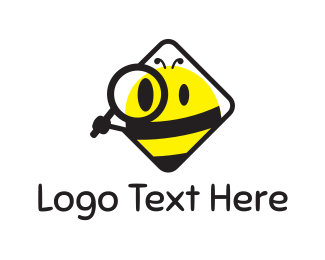 Magnifying Glass - Spy Bee logo design