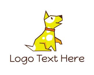 Dog Walker - Cute Yellow Puupy logo design