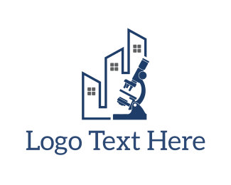 Lab - Microscope Building logo design