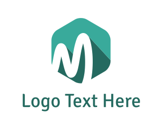 Hexagonal - Mint Letter M logo design