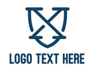 Extreme - Blue X Shield Outline logo design