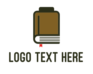 Library - Book Battery logo design