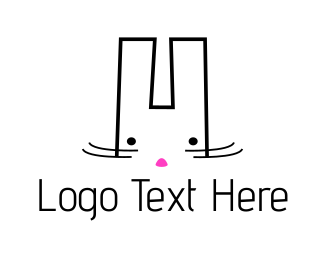 Hare - Cute White Bunny logo design