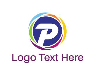 Letter P - Colorful P Circle logo design