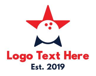 Bowling - Red Blue Bowling Star logo design