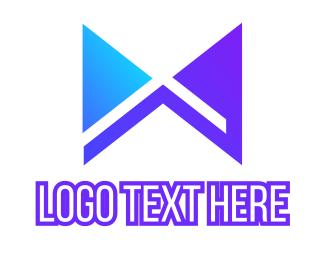 Mechanical - Blue Modern X Ribbon logo design