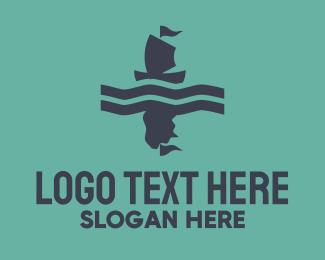 Lake - Blue & Pink Boat logo design