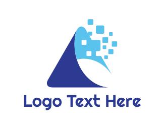 Telecommunication - Blue A Swoosh logo design