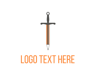 Drawing - Orange Sword Pencil logo design