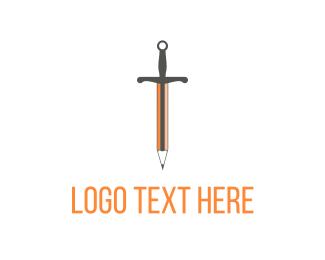 Knowledge - Orange Sword Pencil logo design
