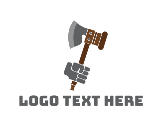 Gavel - Medieval Axe logo design