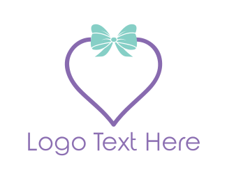 Bow - Heart Gift logo design