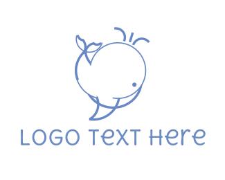 Line Art - Cute Whale logo design