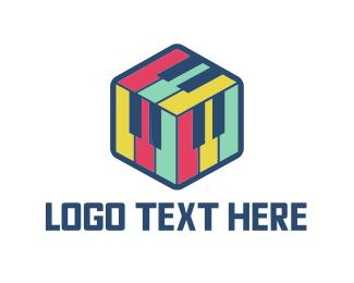 Pianist - Piano Cube logo design