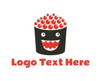 Salmon - Happy Roll logo design