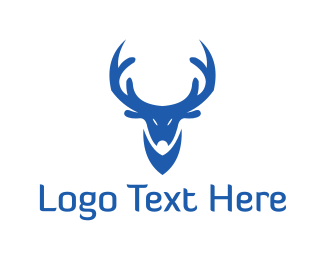 Antelope - Blue Reindeer logo design