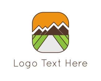 Vineyard - Mountains Landscape logo design