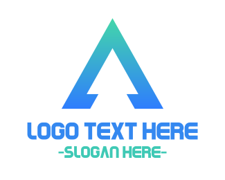Letter A - Triangular Blue Letter A logo design