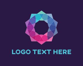 Gemstone - Colorful Neon Flower logo design