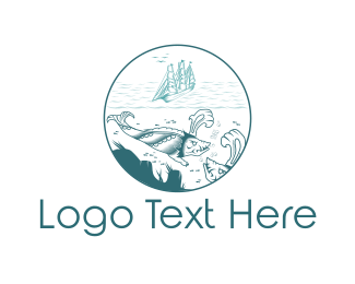 Scuba - Blue Sea Monster logo design