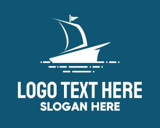 Sailboat - Blue Ship logo design