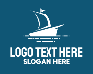 Yacht - Blue Ship logo design