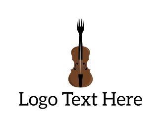 Eating - Fork Violin logo design
