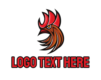 Chicken - Yellow Eyed Rooster logo design