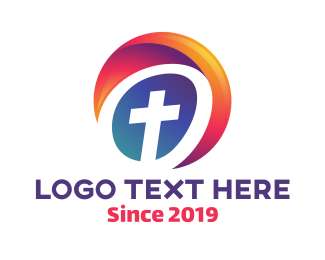 Religion - Cross Circle logo design
