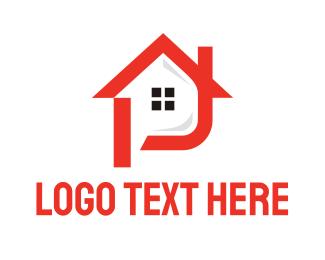 Letter J - Red House J logo design