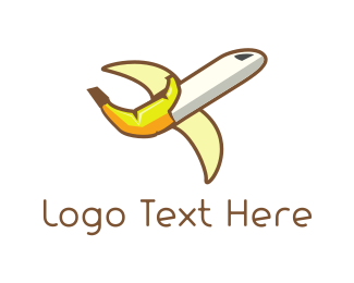 Aero - Banana Airplane logo design