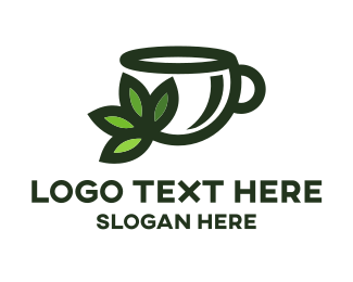 Herbal Tea - Green Tea Cup logo design