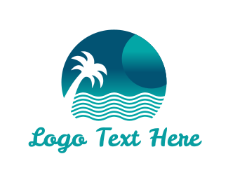 Hawaiian - Ocean & Palm logo design