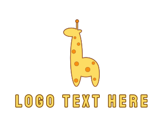 Nursery - Cute Yellow Giraffe logo design