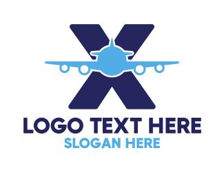 Airbus - Blue X Airplane logo design