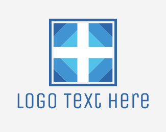 Blue And White - White & Blue Cross logo design