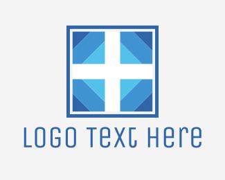 Cross - White & Blue Cross logo design