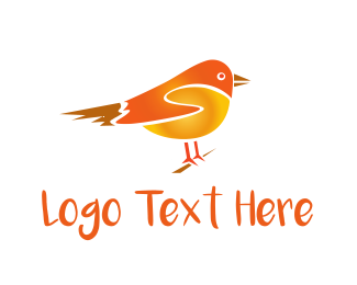 Birdie - Cute Orange Bird logo design