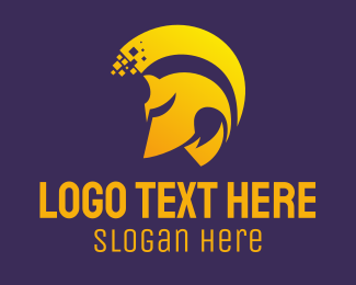 Spartan - Golden Helmet logo design