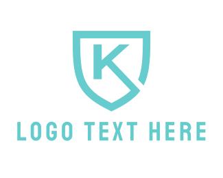 Letter K - Blue Shield Letter K logo design